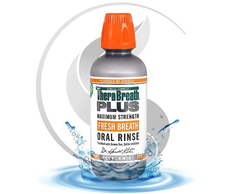 Nước súc miệng trị hôi miệng Therabreath Plus.
